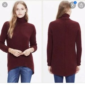 Madewell Wafflestitch Turtleneck Sweater Maroon XS
